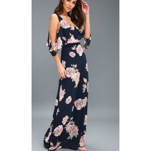 Lulus Very Thought of You Navy Floral Maxi Dress